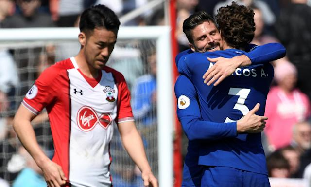 Chelsea's Olivier Giroud and Marcos Alonso celebrate as Maya Yoshida takes in Southampton's 3-2 defeat.