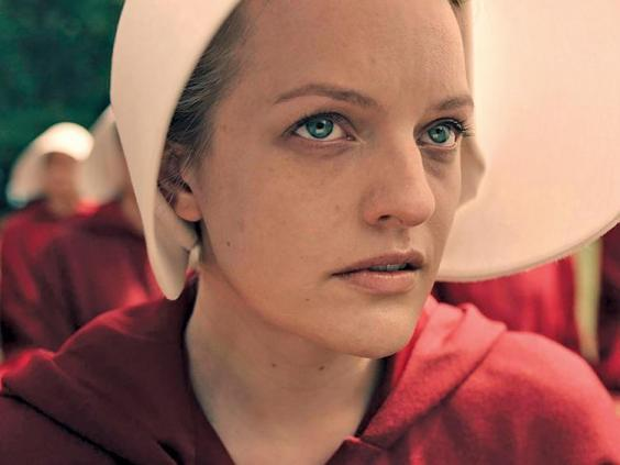 Red alert: Moss as Offred in 'The Handmaid's Tale' (Hulu)