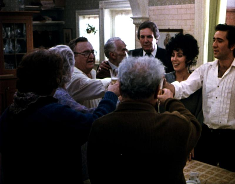 Danny Aiello (back) with Cher, Nicolas Cage and the rest of the cast ofMoonstruck