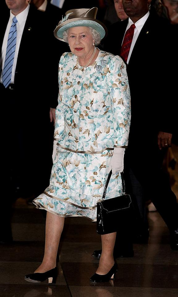 """She may be 84, but that doesn't mean Queen Elizabeth II has to dress like she's 100 ... or at the Kentucky Derby, right? Chris Jackson/<a href=""""http://www.gettyimages.com/"""" target=""""new"""">GettyImages.com</a> - July 6, 2010"""