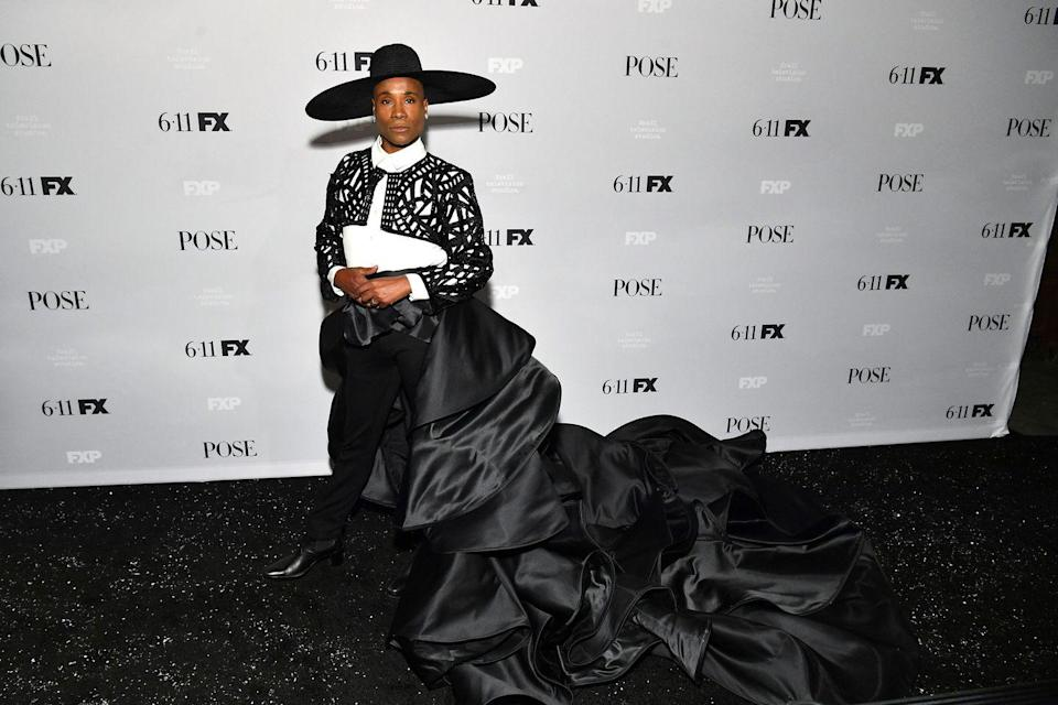 """<p>For the premiere of Pose season 2, Porter wore a black-and-white matador-inspired outfit by Filipino designer and architect Francis Libiran – it took over two and a half months to make, according to <a href=""""https://www.hollywoodreporter.com/news/see-billy-porter-s-bullfighting-inspired-look-at-pose-premiere-1216176"""" rel=""""nofollow noopener"""" target=""""_blank"""" data-ylk=""""slk:THR."""" class=""""link rapid-noclick-resp"""">THR.</a></p><p>On his Instagram, Porter described the look (a heavily beaded bolero jacket, white shirt, black trousers and black satin skirt with a dramatic ruffled train) as 'matador realness'.</p>"""