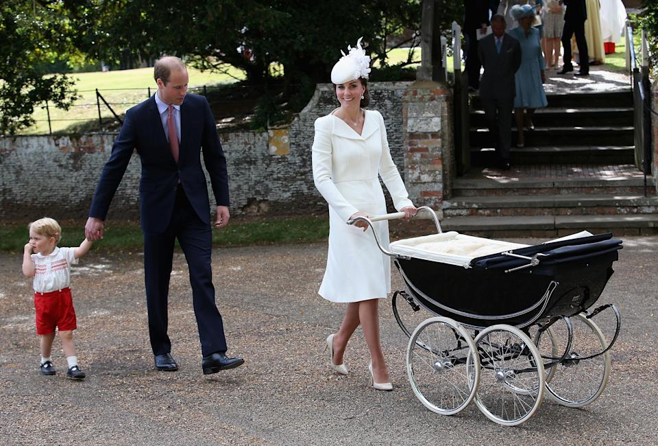 On July 5 2015, the Duchess of Cambridge also wore a bespoke dress by Alexander McQueen to Princess Charlotte's christening [Photo: Getty]