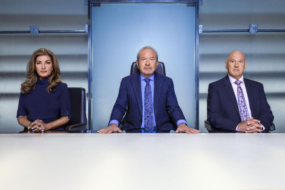 EMBARGOED TO 0001 WEDNESDAY OCTOBER 02 Undated BBC Handout Photo from The Apprentice. Pictured: (L-R) Baroness Brady, Lord Alan Sugar, Claude Littner. See PA Feature SHOWBIZ TV The Apprentice. Picture credit should read: PA Photo/BBC/Boundless/Ray Burmiston. WARNING: This picture must only be used to accompany PA Feature SHOWBIZ TV The Apprentice. WARNING: Use of this copyright image is subject to the terms of use of BBC Pictures' Digital Picture Service (BBC Pictures) as set out at www.bbcpictures.co.uk. In particular, this image may only be published by a registered User of BBC Pictures for editorial use for the purpose of publicising the relevant BBC programme, personnel or activity during the Publicity Period which ends three review weeks following the date of transmission and provided the BBC and the copyright holder in the caption are credited. For any other purpose whatsoever, including advertising and commercial, prior written approval from the copyright holder will be required