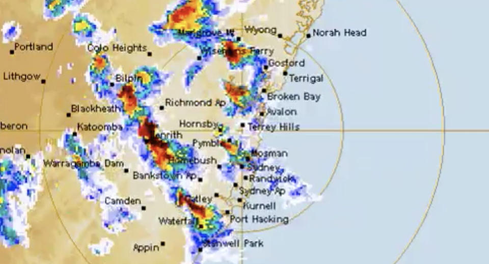 A screenshot of the BOM radar which shows the weather system rolling across NSW. Source: Bureau of Meterology