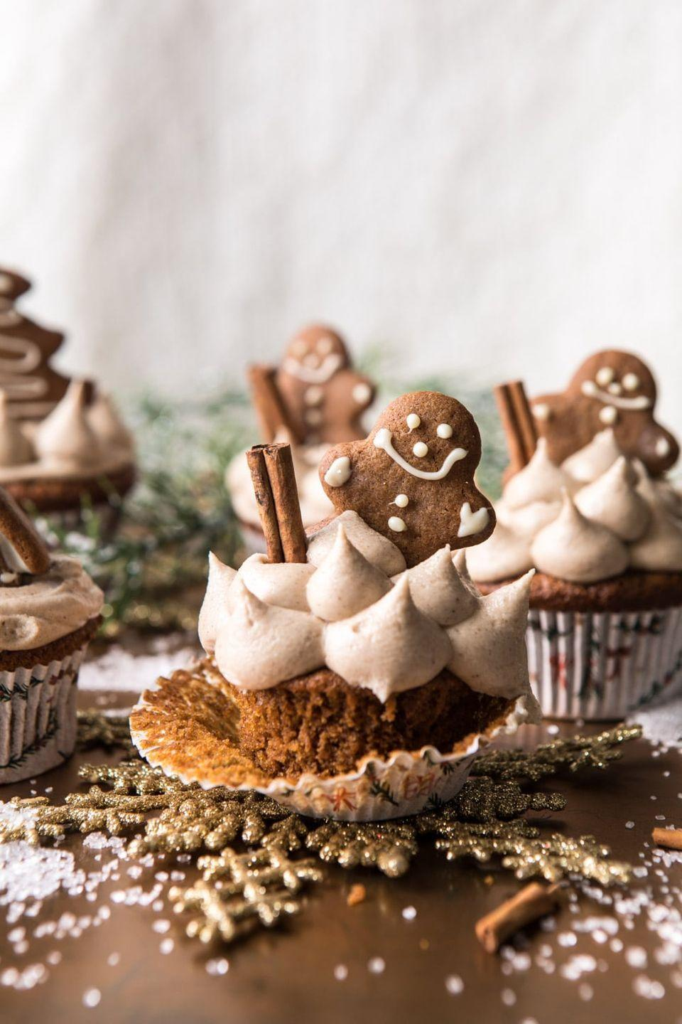 """<p>Somehow these taste even better than they look. Wild,<em> we know</em>. </p><p>Get the recipe from <a href=""""https://www.halfbakedharvest.com/gingerbread-cupcakes/"""" rel=""""nofollow noopener"""" target=""""_blank"""" data-ylk=""""slk:Half Baked Harvest"""" class=""""link rapid-noclick-resp"""">Half Baked Harvest</a>.</p>"""