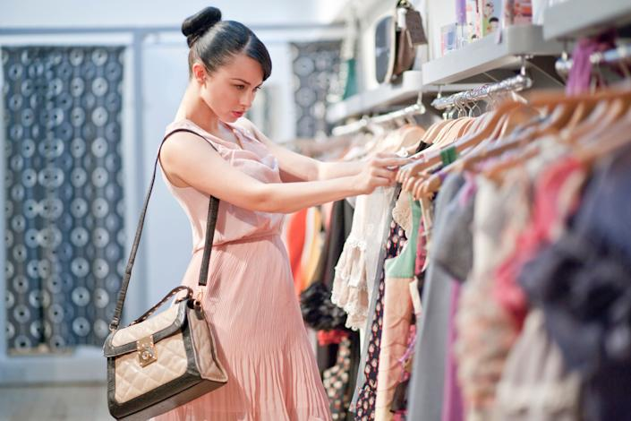 """Reduce your fashion carbon footprint by resisting the urge to buy on impulse. Avoid <a href=""""http://www.huffingtonpost.com/2013/08/16/shopping-addiction_n_3769749.html"""" rel=""""nofollow noopener"""" target=""""_blank"""" data-ylk=""""slk:retail therapy"""" class=""""link rapid-noclick-resp"""">retail therapy</a> at all cost, but if you absolutely must make a purchase, be sure to choose quality over quantity. Opt for a minimalist approach and build your wardrobe around timeless statement pieces that last."""