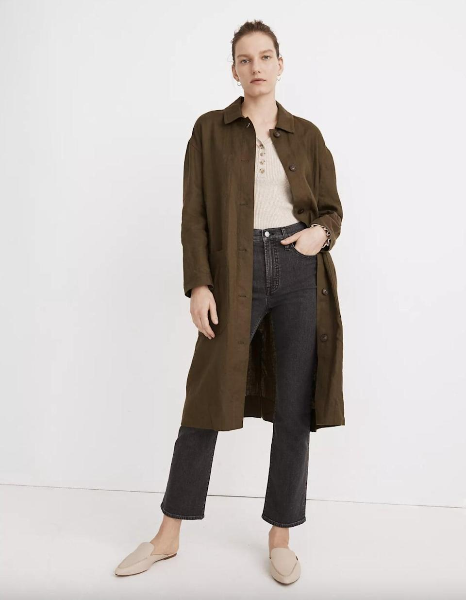 <p>This effortlessly chic <span>Madewell Linen Oversized Duster Coat</span> ($148) is one you'll turn to season after season.</p>