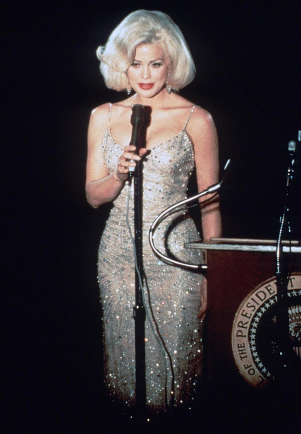 <p>Anderson played the blonde bombshell in the 1993 TV movie, <em>Marilyn & Bobby: Her Final Affair</em>, which was a fictional account of the alleged affair between Monroe and Robert F. Kennedy. </p>