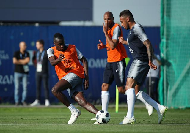 Soccer Football - World Cup - France Training - France Training Camp, Moscow, Russia - June 18, 2018 France's Corentin Tolisso and Blaise Matuidi during training REUTERS/Albert Gea