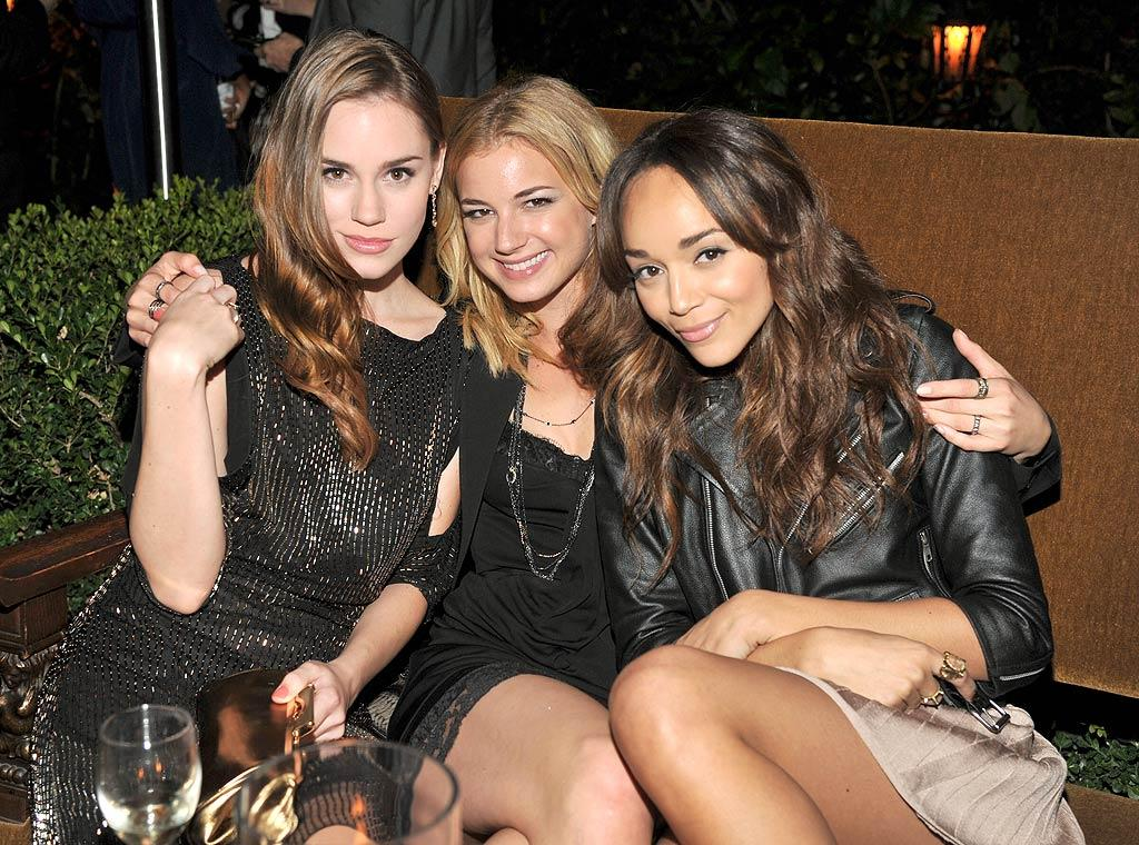 """Revenge"" star Emily VanCamp was flanked by fellow beauties Christa B. Allen (left) and Ashley Madekwe."