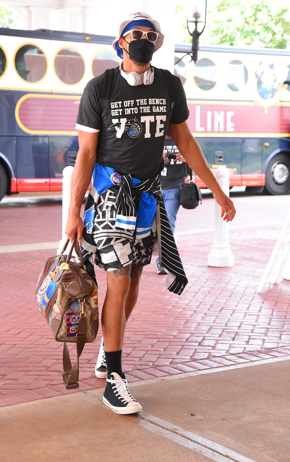 Aaron Gordon #00 of the Orlando Magic arrives at the hotel as part of the NBA Restart 2020 on July 7, 2020 in Orlando, Florida. (Photo by Bill Baptist/NBAE via Getty Images)