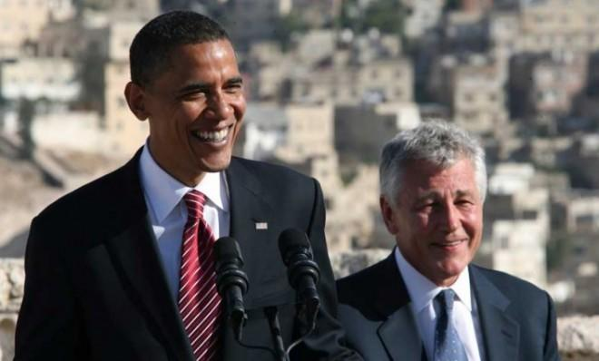 Barack Obama and Chuck Hagel in Amman, Jordan, in 2008. The pair, along with Democrat Jack Reed, traveled together on a tour of the Middle East and Europe.