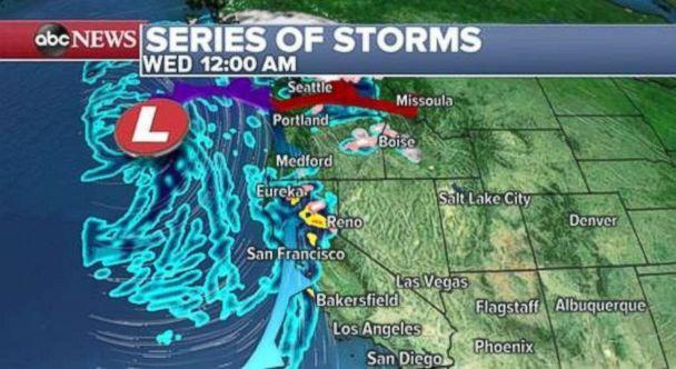 PHOTO: Northern California will see rain as a third system moves in late Tuesday and early Wednesday. (ABC News)
