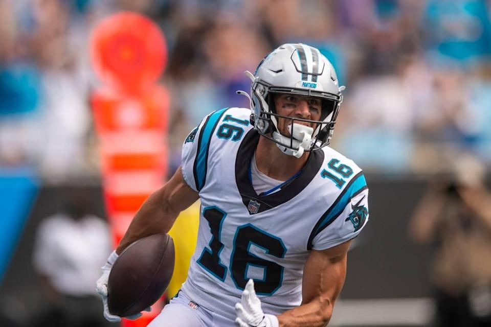 Panthers wide receiver Brandon Zylstra runs the ball into the end zone for a touchdown during the game against the Saints at Bank of America Stadium on Sunday, September 19, 2021 in Charlotte, NC.