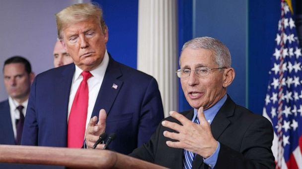 PHOTO: President Donald Trump listens as Director of the National Institute of Allergy and Infectious Diseases Anthony Fauci speaks during the daily briefing on the novel coronavirus, COVID-19, at the White House on March 24, 2020, in Washington. (Mandel Ngan/AFP via Getty Images)