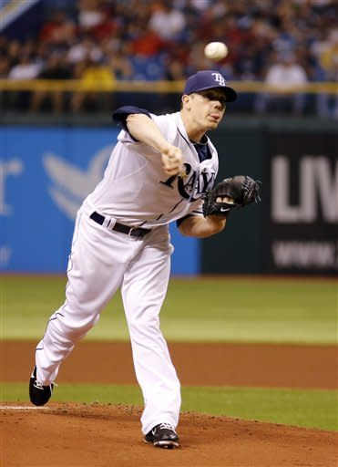 Tampa Bay Rays Jeremy Hellickson pitches against the Oakland Athletics during the first inning of a baseball game, Saturday, May 5, 2012, in St. Petersburg, Fla. (AP Photo/Scott Iskowitz)