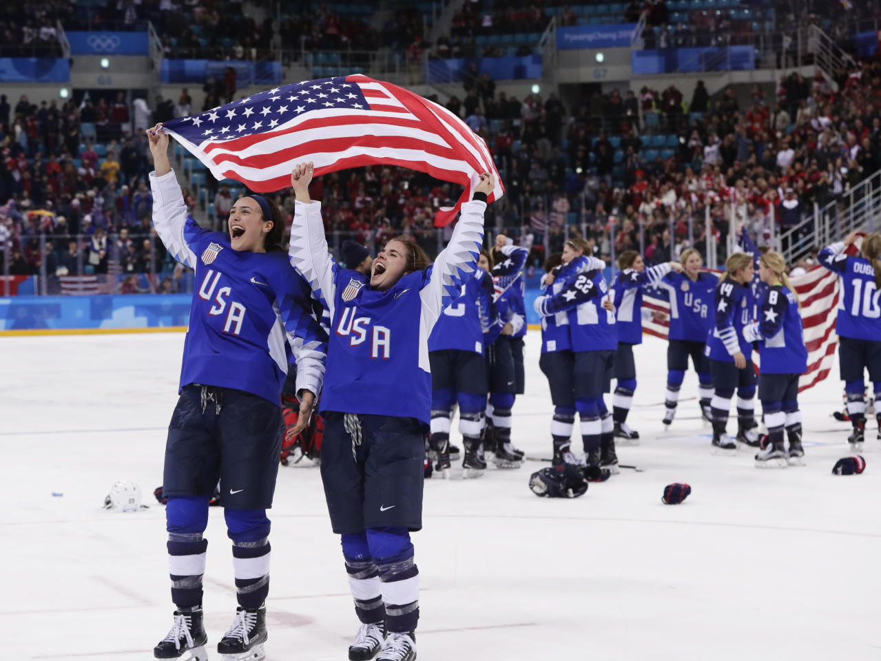 <p>The United States players celebrate after winning the women's gold medal hockey game against Canada at the 2018 Winter Olympics in Gangneung, South Korea, Thursday, Feb. 22, 2018. (AP Photo/Frank Franklin II) </p>