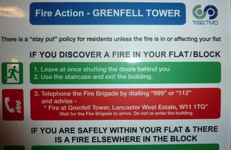 Residents were told to stay INSIDE in the event of a fire (Picture: Grenfell Action Group)