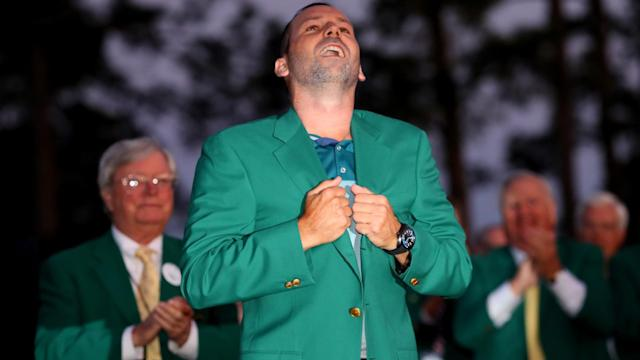 Tiger Woods, Rory McIlroy and Michael Phelps were among those paying tribute to first-time major winner Sergio Garcia.