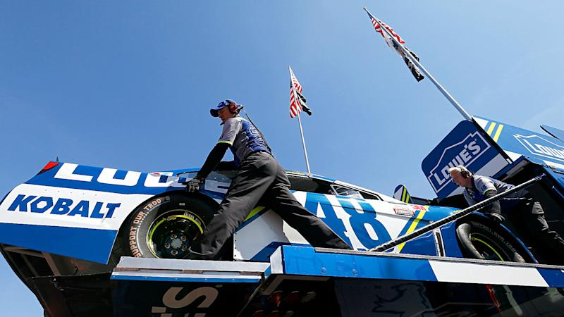 NASCAR at Fontana: Jimmie Johnson goes to backup car after mishap in practice