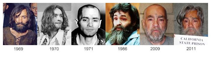 FILE - This file combo of photographs shows how Charles Manson has looked over the years from 1969 up to the most recently released photo in 2011. Manson is scheduled to have a parole hearing at Corcoran State Prison in Central Calif., on Weds., April 11, 2012. (AP Photo, File)