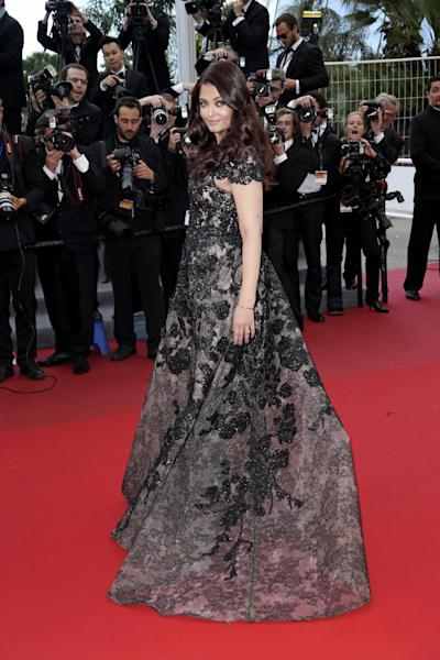 Actress Aishwarya Rai poses for photographers as she arrives for the screening of the film Inside Llewyn Davis at the 66th international film festival, in Cannes, southern France, Sunday, May 19, 2013. (Photo by Joel Ryan/Invision/AP)