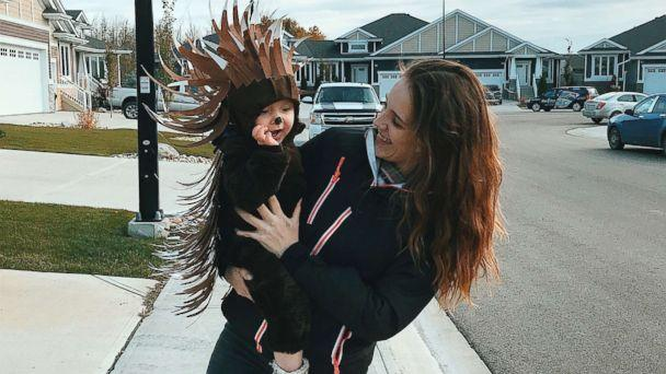 PHOTO: Danielle Bevens holds her son, dressed in a porcupine costume. (Danielle Bevens)