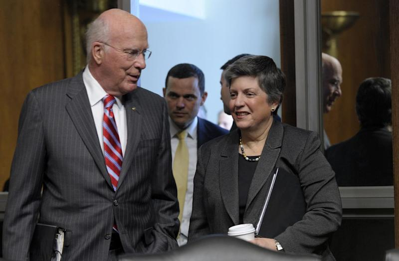Homeland Security Secretary Janet Napolitano and Senate Judiciary Committee Chairman Sen. Patrick Leahy, D-Vt. arrive on Capitol Hill in Washington, Wednesday, April 25, 2012, where Napolitano testified before the committee's hearing on the Secret Service prostitution scandal that embarrassed the White House and overshadowed the president's visit to a Latin American summit. (AP Photo/Susan Walsh)