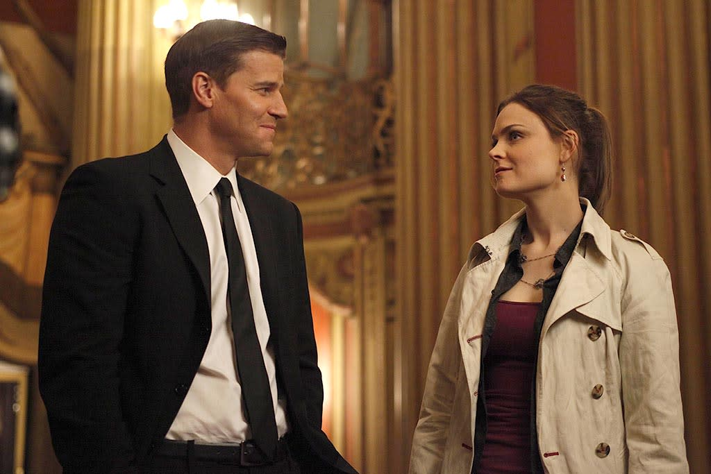 <p>The show's 100th episode, directed by star David Boreanaz, will forever be known as one of the series' best. When Dr. Sweets (John Francis Daley) tells Booth (Boreanaz) and Brennan (Emily Deschanel) that's he written a book with his interpretation of their working relationship based on their very first case, they're forced to tell him they'd worked together once before. Here we thought we were watching a traditional will-they-or-won't-they show when in fact Booth and Brennan almost did it after she got fired during their first case for punching a judge. We see their true first kiss, and, once she's rehired, her walls go back up. In the present day, Booth remembers he's a gambler and takes the risk of telling Brennan, the scientist, that he wants to be together. In the heartbreaking scene that follows, the drama does what most will-they-or-won't-they shows won't: let the characters have a real conversation that both acknowledges the feelings and what's keeping them apart. Every sentence (and tear) was earned. <em>— Mandi Bierly</em><br />(Photo: Greg Gayne/Fox) </p>