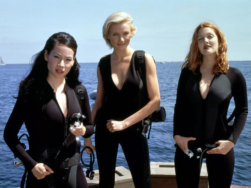 "(L-R) Lucy Liu, Cameron Diaz, and Drew Barrymore in 2000's ""Charlie's Angels."""
