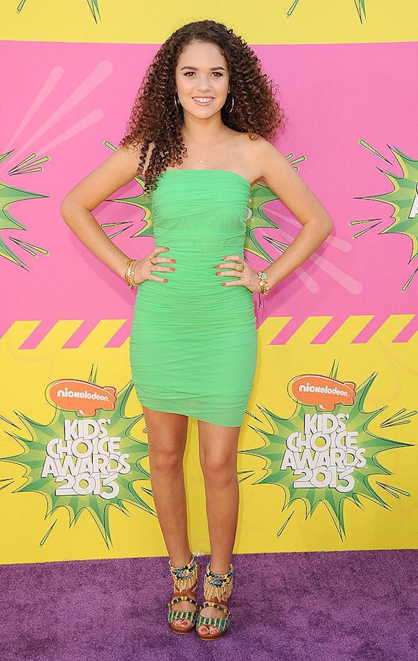 "Former ""Cory in the House"" star Madison Pettis, 14, paired her seafoam green frock gorgeous curly tresses and some fun footwear."