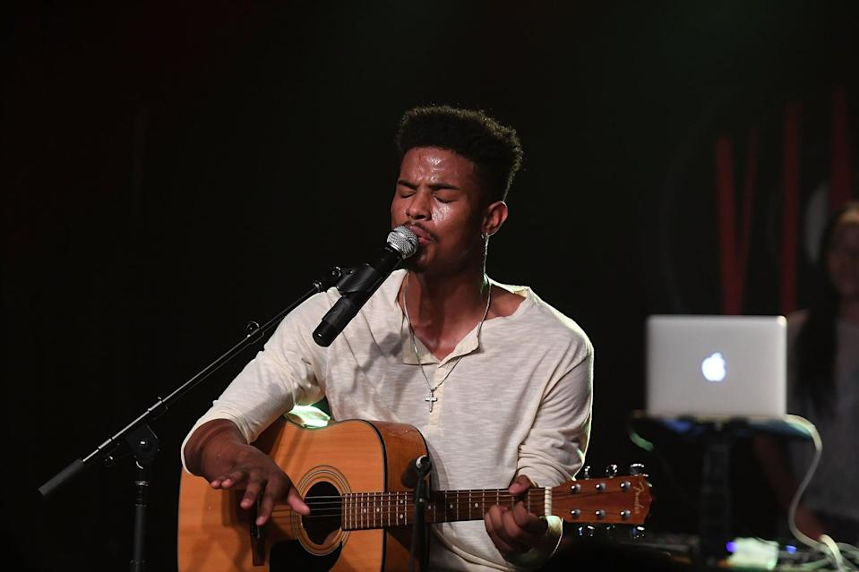 "<p>Trevor often shares videos of himself <a href=""https://www.instagram.com/p/BacyK21jVO0/?hl=en&taken-by=trevorjackson5"" class=""link rapid-noclick-resp"" rel=""nofollow noopener"" target=""_blank"" data-ylk=""slk:playing the guitar shirtless"">playing the guitar shirtless</a> on Instagram, which he says brings him ""<a href=""https://www.youtube.com/watch?v=bmJrr_KWk94&feature=youtu.be&t=13m20s"" class=""link rapid-noclick-resp"" rel=""nofollow noopener"" target=""_blank"" data-ylk=""slk:peace"">peace</a>"" during stressful times in his life.</p>"
