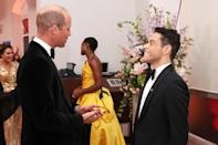 <p>Meanwhile, Prince William chatted with Rami Malek, who plays villain Safin in the film. </p>