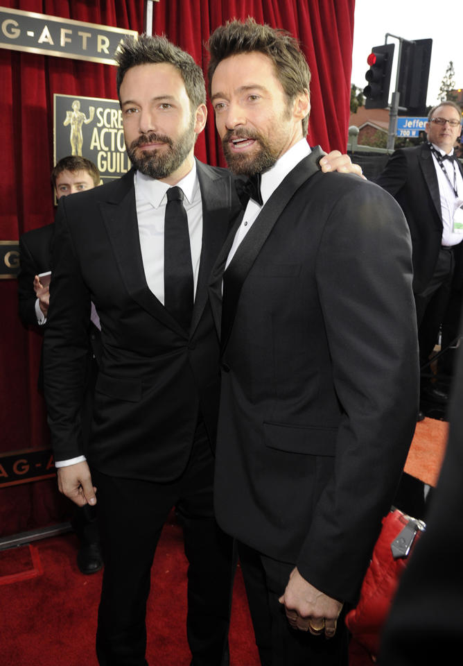 Ben Affleck and Hugh Jackman arrive at the 19th Annual Screen Actors Guild Awards at the Shrine Auditorium in Los Angeles, CA on January 27, 2013.