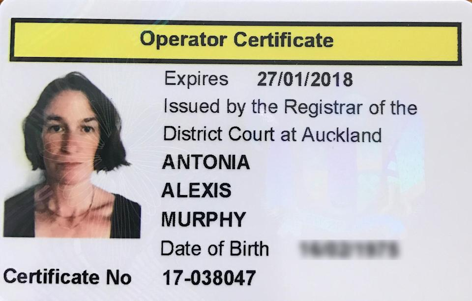 """Murphy's operator certificate for her escort agency — or, as she puts it, """"my license to pimp."""" (Photo: Courtesy of Antonia Murphy)"""