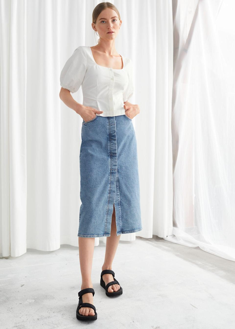 "<br> <br> <strong>& Other Stories</strong> Fitted Denim Midi Skirt, $, available at <a href=""https://go.skimresources.com/?id=30283X879131&url=https%3A%2F%2Fwww.stories.com%2Fen_usd%2Fclothing%2Fskirts%2Fdenim-skirts%2Fproduct.fitted-denim-midi-skirt-blue.0843182001.html"" rel=""nofollow noopener"" target=""_blank"" data-ylk=""slk:& Other Stories"" class=""link rapid-noclick-resp"">& Other Stories</a>"