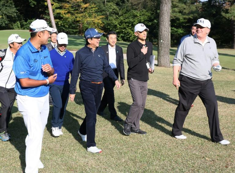 Japanese Prime Minister Shinzo Abe shares a love of golf with US President Donald Trump