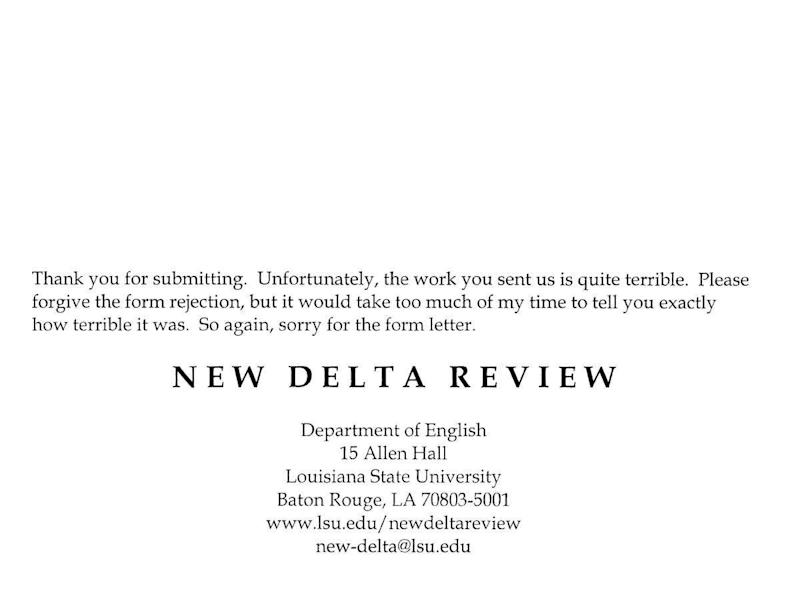 New Delta Review Rejection Letter
