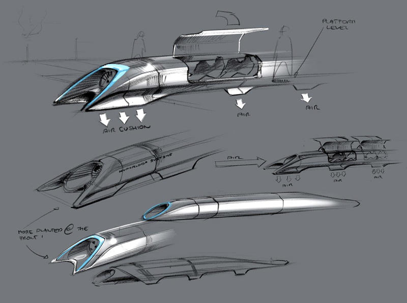 "This image released by Tesla Motors shows a conceptual design sketch of the Hyperloop passenger transport capsule. Billionaire entrepreneur Elon Musk on Monday, Aug. 12, 2013 unveiled the concept for a transport system he says would make the nearly 400-mile trip in half the time it takes an airplane. The ""Hyperloop"" system would use a large tube. Inside, capsules would float on air, traveling at over 700 miles per hour. (AP Photo/Tesla Motors)"