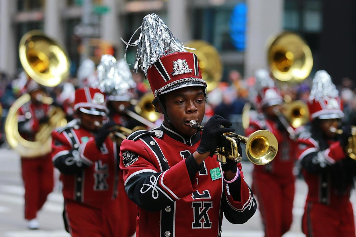 "The Martin Luther King High School Band performs ""Before I Let Go"" medley and ""Candy"" during the 93rd Macy's Thanksgiving Day Parade in New York. (Photo: Gordon Donovan/Yahoo News)"