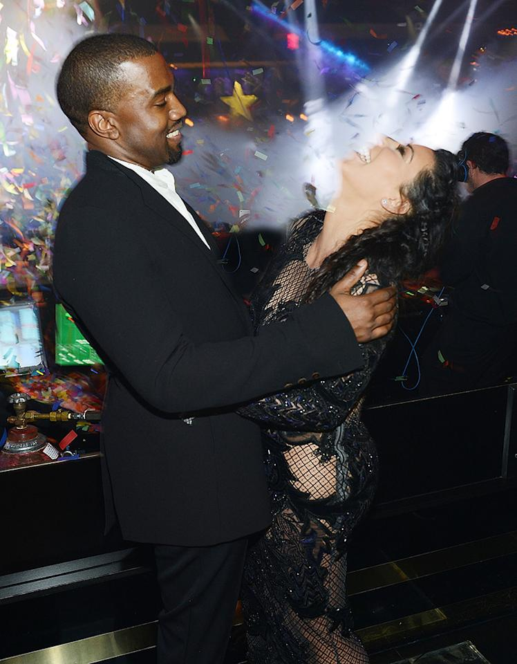 LAS VEGAS, NV - DECEMBER 31:  (Exclusive Coverage) Kanye West and Kim Kardashian celebrate New Years Eve countdown at 1OAK Nightclub at the Mirage on December 31, 2012 in Las Vegas, Nevada.  (Photo by Denise Truscello/WireImage)