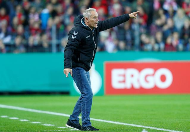 Soccer Football - DFB Cup Second Round - SC Freiburg v Dynamo Dresden - Dreisamstadion, Freiburg, Germany - October 25, 2017 SC Freiburg coach Christian Streich REUTERS/Ralph Orlowski DFB RULES PROHIBIT USE IN MMS SERVICES VIA HANDHELD DEVICES UNTIL TWO HOURS AFTER A MATCH AND ANY USAGE ON INTERNET OR ONLINE MEDIA SIMULATING VIDEO FOOTAGE DURING THE MATCH.