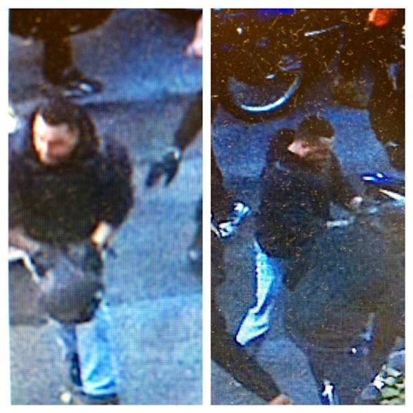 This combination of undated images released by the the New York City Police Department shows a man wanted for questioning in regards to an assault on Sept. 29, 2013 where dozens of bikers stopped a Range Rover SUV on a highway, attacked the vehicle, then chased the driver and pulled him from the car after he plowed over a motorcyclist while trying to escape. (AP Photo/New York City Police Department)