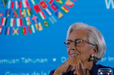 IMF Managing Director Christine Lagarde attends a news conference during International Monetary Fund - World Bank Annual Meeting 2018 in Nusa Dua, Bali, Indonesia, October 11, 2018. REUTERS/Johannes P. Christo