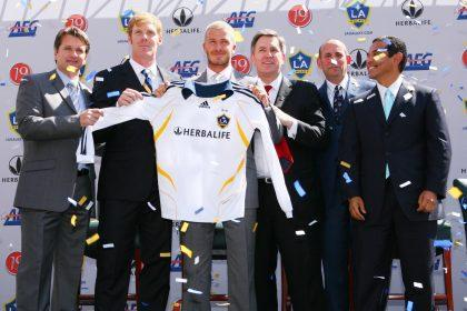 The Galaxy introduced Beckham at a press conference at the Home Depot Center in Carson. (Getty Images)