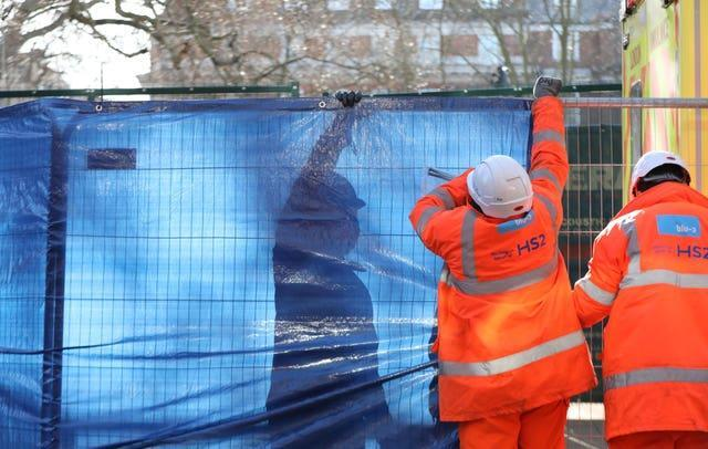 Tarpaulin is put up before the final anti-HS2 activist was removed