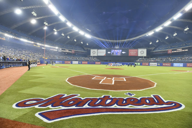 MONTREAL, QC - MARCH 25: A view from behind home plate ahead of MLB spring training between the Toronto Blue Jays and the Milwaukee Brewers at Olympic Stadium on March 25, 2019 in Montreal, Quebec, Canada. The Milwaukee Brewers defeated the Toronto Blue Jays 10-5. (Photo by Minas Panagiotakis/Getty Images)