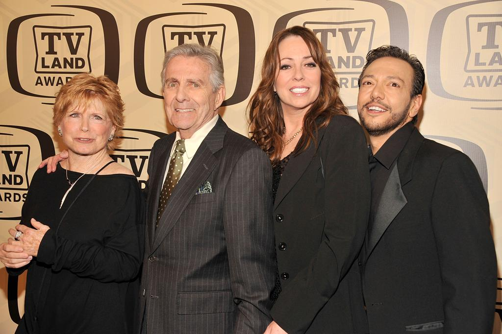 """Bonnie Franklin, Pat Harrington Jr., Mackenzie Phillips, and Glenn Scarpelli of """"<a href=""""http://tv.yahoo.com/one-day-at-a-time/show/163"""">One Day At a Time</a>"""" arrive at the 10th Annual TV Land Awards at the Lexington Avenue Armory on April 14, 2012 in New York City."""