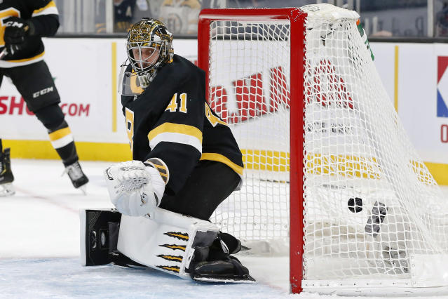 Boston Bruins' Jaroslav Halak (41) looks back as a shot by New York Rangers' Pavel Buchnevich gets past him for a goal during the first period of an NHL hockey game in Boston, Friday, Nov. 29, 2019. (AP Photo/Michael Dwyer)