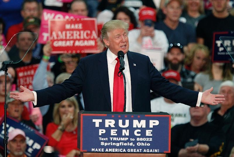 Trump speaks hindi in indian american campaign ad us republican presidential nominee donald trump seen at a rally in ohio on october 27 publicscrutiny Image collections